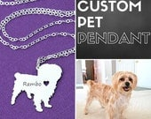 Custom Pet Necklace • Photo Art Design • Dog Silhouette Dog Photo • Engraved Pet Silver Dog Memorial • Unique Pet Lover Gift