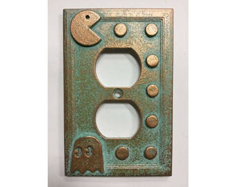 Pac-Man  - Outlet Cover - Aged Copper/Patina or Stone