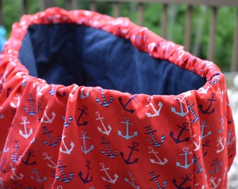 Nautical anchors child cart cover, gender neutral, baby shower gift,red,white,blue, american.