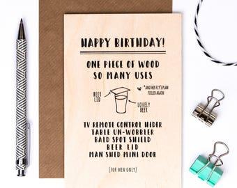 Wooden Birthday Card For Men; Keepsake Desk Card; Card For Dad; Card For Husband; Male Card; Funny Man Card; GC631