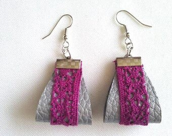 Pink gooseberry lace silver gray leather earrings