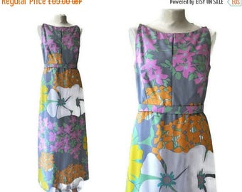 Summer Sale Vintage 1970's Abstract Floral Maxi Dress By Mattil of London // UK Size 14, Medium