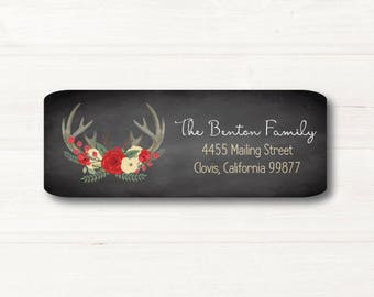 Red and Creme Flowers, Antlers,  Return Address Label, Custom, MATTE, Flowers, Red, Green, Holiday, Wedding, Personal, Chalkboard Style