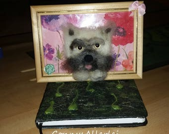 Picture with felted dog (terrier)
