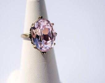 Ring bronze rosette set Swarovski Rosaline Crystal cabochon