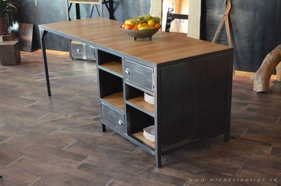 Lot central de cuisine sur mesure en bois et acier - Meuble cuisine en metal ...