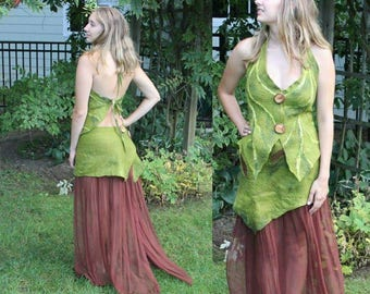 Nuno Felted Woodland Fairy Dress in Brown and Green. Elven Pixie Skirt and Top. Felted Leaf Fairy Costume Adult. Long Fairy Festival Dress.