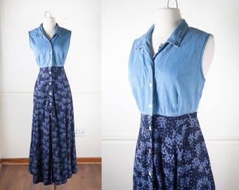 90s Dress, 90s Grunge Clothing, Floral Print Denim Dress, 90s Dress, Long Dress, Grunge Dress, Floral Dress Festival Dress Festival Clothing