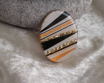 oval cabochon embellishment geometry handmade resin and wood