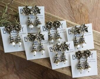 "Bohemian ""Dew Drops"" Dangle Earrings, Boho Shabby Chic Rustic Crystal Floral Pearl Stud Earrings, Wedding Bridesmaid Jewelry Gift ByLEXY"