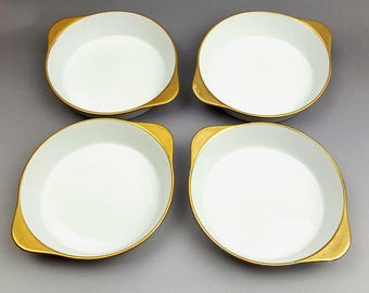 Individual gratin or dessert dishes white porcelain with gold trim tab handles Oven to Table vintage