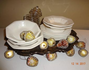 10 Piece Lot Vintage White Octagon Ironstone Dishes - 5 plates & 5 bowls Johnson Brothers Interpace Japan
