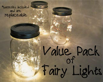 VALUE PACK Fairy Lights with replaceable batteries. You pick quantity. 10 LEDs per wire, warm white lights for mason jars or crafts