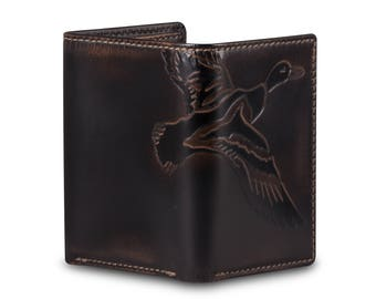 DUCK TRIFOLD Leather Wallet•PERSONALIZED Mens Wallet•Trifold•Monogram•Mens Gifts•Duck Hunter Gift•Groomsmen Gift•Anniversary Gift
