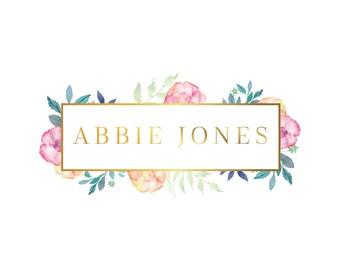 Floral Logo, Gold Logo, Premade Logo, Logo and Branding, Business Logo, Flower Logo, Florist Logo, Boutique Logo, Feminine Logo