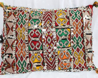 Vintage Moroccan pillow cover with Sequins 20'' X 16'' Double face