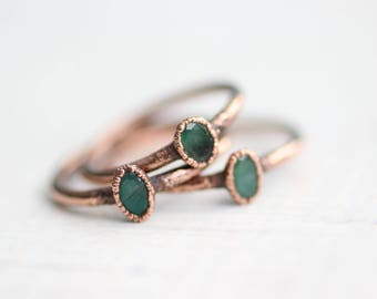 Emerald Ring Copper Ring Electroformed Jewelry Faceted Oval Emerald Ring