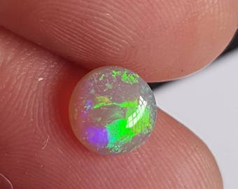 0.96ct 7mm Blue Green Lime Green and Amber Genuine Lightning Ridge Australian Opal Cabochon