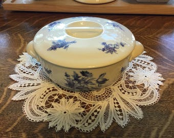 Apilco Blue Floral on White Porcelain Covered Casserole Dish