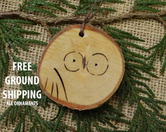 Owl ornament, birch ornament, Christmas Ornament, Christmas gift, rustic ornament, wooden owl ornament