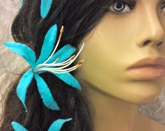 Turquoise nerines flowers hair clips x 3 artificial colors