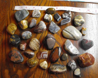 Polished Striped  And Patterned Stones Lot