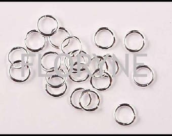 200 rings in silver shiny open 5Mm round