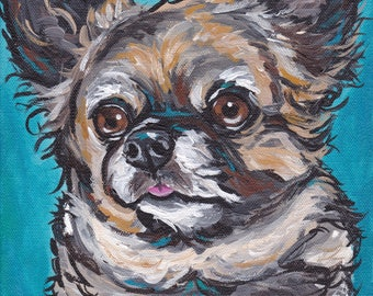 Colorful Chihuahua art print from original Long Hair Chihuahua canvas painting, canvas and paper options
