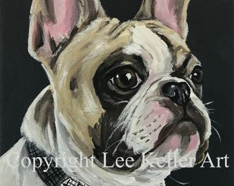 French Bulldog Art Print.  French Bulldog canvas or paper art print. Frenchie art print.  French Bulldog bowtie dog art, Frenchie dog art