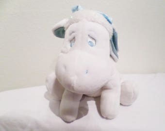 Disney Snowflake Winter White Plush Pooh, Tigger and Eeyore/Dressed In Winter Scarfs And Hats In Baby Blue/Large Plush/You Choose//Adorable!