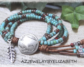 Beaded Leather Wrap Bracelet/ Native American Wrap Bracelet/ Seed Bead Bracelet/ Southwestern Leather Bracelet/Boho Wrap Bracelet.