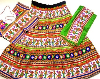 Navratri chaniya choli white and green colour with embroidery work Lehenga Choli by Indian Designer.