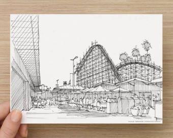 Ink Sketch of Santa Cruz Boardwalk and Rollercoaster, California - Drawing, Art, Amusement Park, Wood Rollercoaster, Architecture, 5x7, 8x10