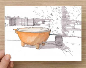 Wood Fired Hot tub at El Cosmico in Marfa, Texas - Campground, West Texas, Ink Drawing, Sketch, Watercolor, Art, Pen and Ink, 5x7, 8x10