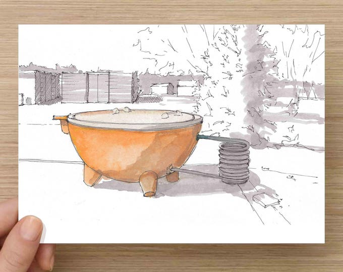 Featured listing image: Wood Fired Hot tub at El Cosmico in Marfa, Texas - Campground, West Texas, Ink Drawing, Sketch, Watercolor, Art, Pen and Ink, 5x7, 8x10