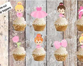 24 x Edible Pre Cut Ballerina Stand Up Cupcake Toppers