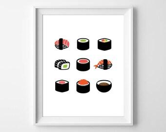 Sushi Print, Sushi Wall Art, Minimal Food Print, Asian Art, Sushi Lover Gift, Sushi Kitchen Print, Sushi Decor, Sushi Gift, Instant Download