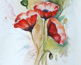 Watercolor Flower Painting.  Poppies. Red Flowers. Giclee Print