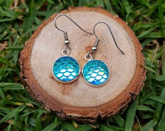 Blue based mermaid dragon scale drop earrings. Hypoallergenic stainless surgical steel posts