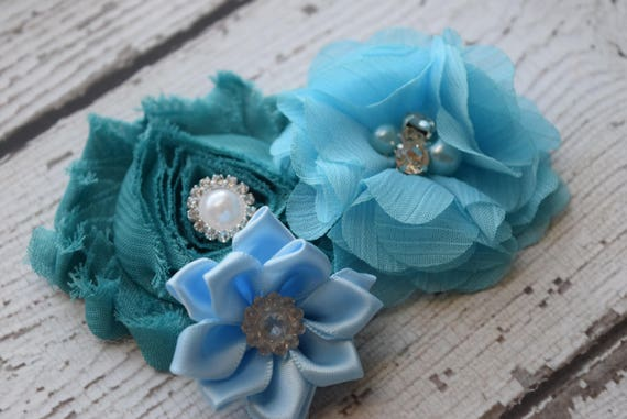 Teal blue Flower Baby clip, #2,Newborn clip,  Infant Headband,Baby Headband, Headband Baby, Baby Headband, baptism  headband