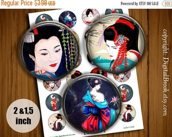 SALE 50% Japanese Geisha Digital Collage Sheet 2 inch 1.5 inch Printable circle images for Pocket Mirrors Magnets Labels Pendant - 154