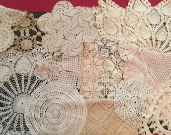 Lot of 26 Vintage Crochet Doilies - Acru/ Off White C11