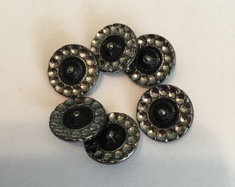 Glass Vintage Buttons- 6 Black and Silver