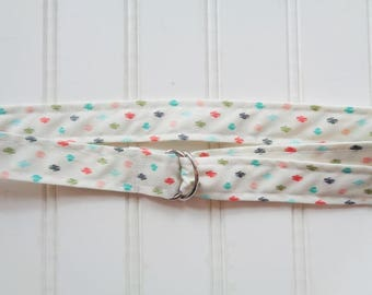 Colored Spots on White D-Ring Belt  {Kids Sizing}