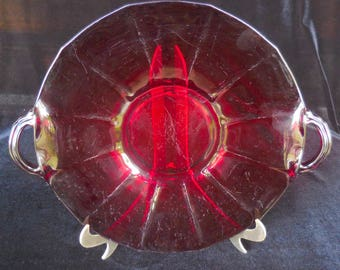 Ruby Glass Handled Cake Plate 1930s vintage