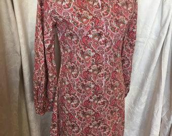 Late 60s pink paisley shirt dress
