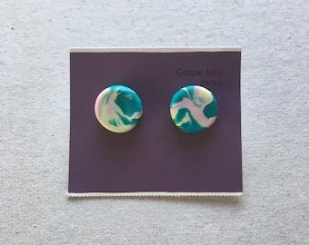 Marbled clay stud earrings