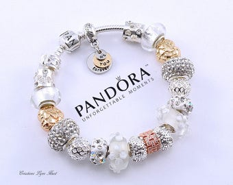 Authentic PANDORA bracelet sterling silver with charms and gift box !