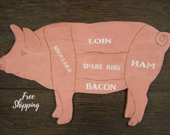 Pig Butcher Diagram Pork Meat Cuts Butcher Chart Wooden Pig Sign Meat Chart Pig Decor Kitchen Decor Restaurant Decor Farmhouse Decor Pig Art
