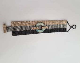 Peyote stitch cuff and mother of Pearl